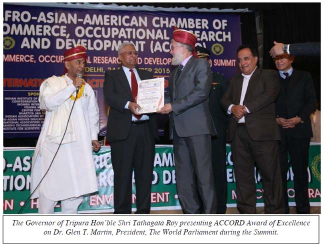 The Governor of Tripura Hon'ble Shri Tathagata Roy presenting ACCORD Award of Excellence