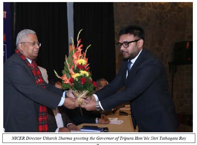 NICER Director Utkarsh Sharma greeting the Governor of Tripura Hon'ble Shri Tathagata Roy