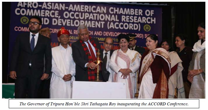The Governor of Tripura Hon'ble Shri Tathagata Roy inaugurating the ACCORD Conference.